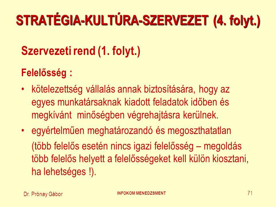 Dr.Prónay Gábor INFOKOM MENEDZSMENT 72 STRATÉGIA-KULTÚRA-SZERVEZET (5.