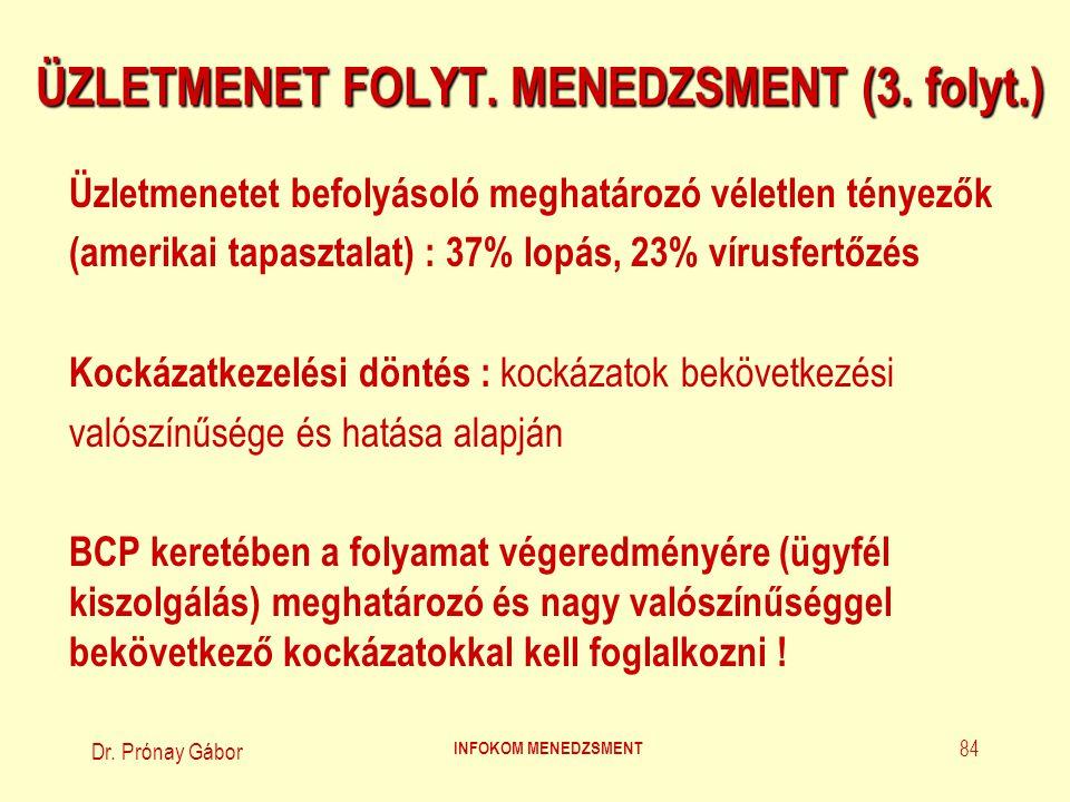 Dr.Prónay Gábor INFOKOM MENEDZSMENT 85 ÜZLETMENET FOLYT.