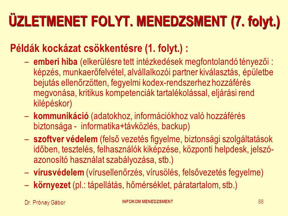 Dr.Prónay Gábor INFOKOM MENEDZSMENT 89 ÜZLETMENET FOLYT.