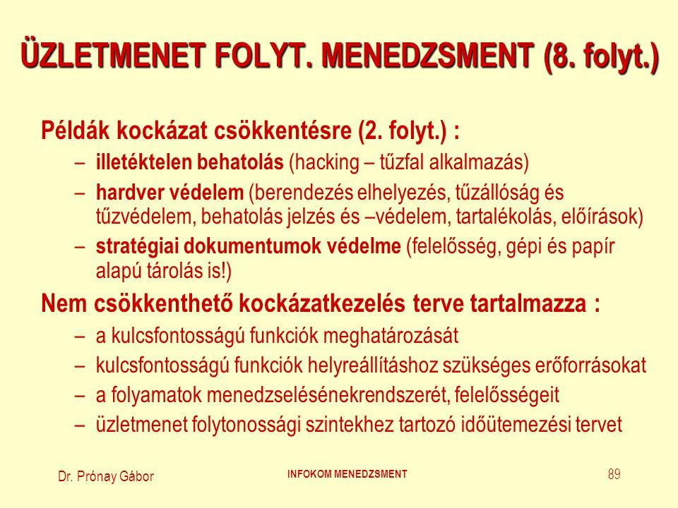 Dr.Prónay Gábor INFOKOM MENEDZSMENT 90 ÜZLETMENET FOLYT.