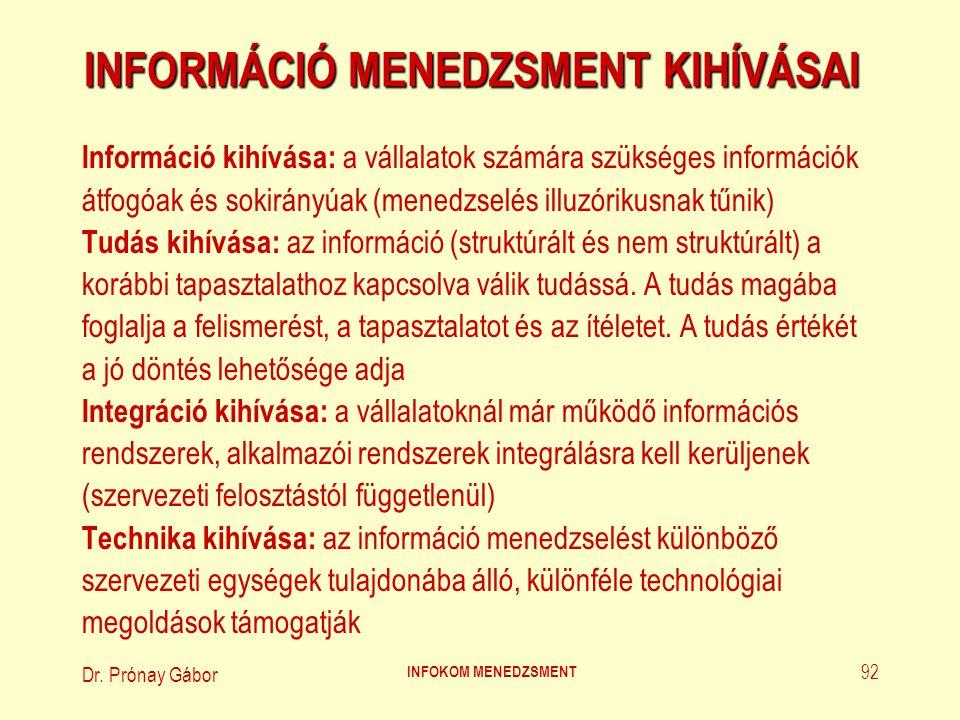 Dr.Prónay Gábor INFOKOM MENEDZSMENT 93 INFORMÁCIÓ MENEDZSMENT KIHÍVÁSAI (1.