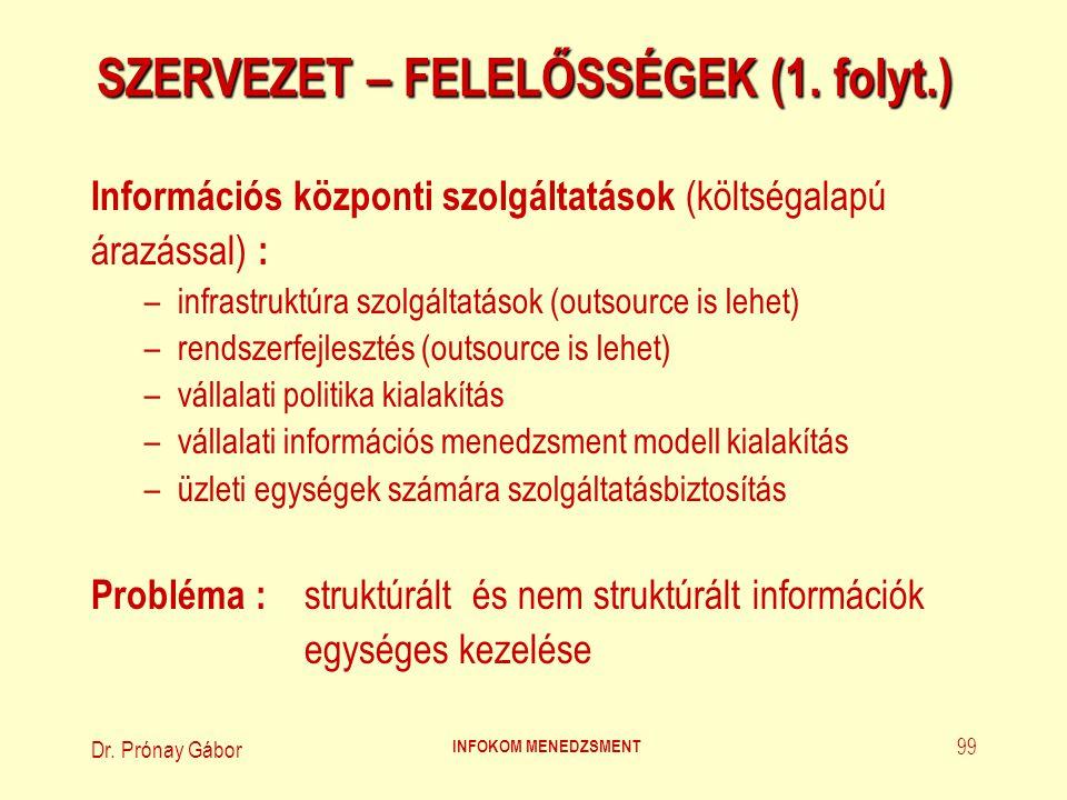 Dr.Prónay Gábor INFOKOM MENEDZSMENT 100 SZERVEZET – FELELŐSSÉGEK (2.