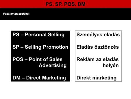 PS. SP. POS. DM Fogalommagyarázat PS – Personal Selling SP – Selling Promotion POS – Point of Sales Advertising DM – Direct Marketing Személyes eladás.
