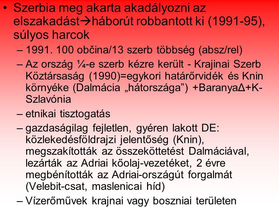 A volt Jugoszlávia járásainak megoszlása etnikai többség szerint forrás: Probáld-Szabó:Európa regionális földrajza