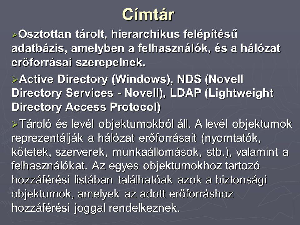 Fájl- jogosultságok  Attribútumok: a fájlokhoz/könyvtárakhoz való hozzáférést felhasználótól függetlenül szabályozzák.