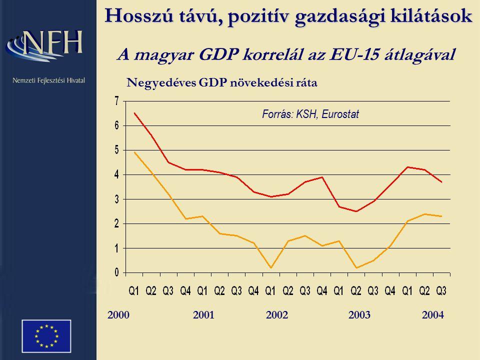 Forrás: Business Monitor International, December 2004 HelyezésEredményOrszág 1.96.7 Dánia 3.95.8 Kanada 5.92.5 Japán 14.85.0 Ausztrália 27.76.3 MAGYARORSZÁG 32.73.8 Lengyelország 41.70.8 Csehország 46.68.3 Szlovákia Hosszú távú politikai stabilitás Kedvező politikai és gazdasági környezet