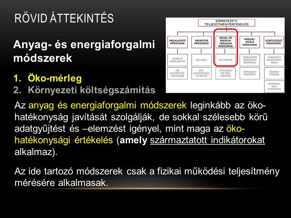 ÖKO-MÉRLEG Jellemzői: Az öko-mérleg indikátorokkal operál, a bejövő és a kimenő anyag- és energiaáramokat (input – output oldali terhelések) veti össze egymással.