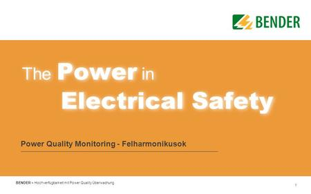 Power Quality Monitoring - Felharmonikusok