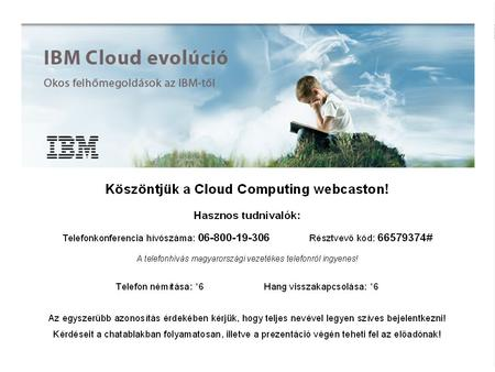 © 2011 IBM Corporation1. Számítási Felhő evolúció (Cloud Computing Evolution) 2011 szeptember 14 Bodroghy Ede IT Architect +36 20 8235418