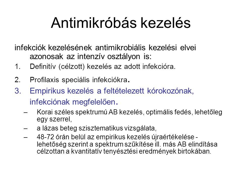 Antimikróbás kezelés Fontos, hogy az empirikus kezelés megkezdése előtt vegyük le a betegtől a szükséges mintákat mikrobiológiai vizsgálatra (vér, vizelet, bronchiális váladék).