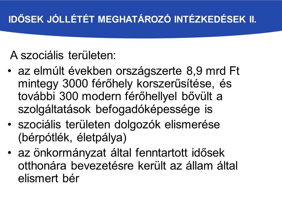 IDŐSEK JÓLLÉTÉT MEGHATÁROZÓ INTÉZKEDÉSEK III.
