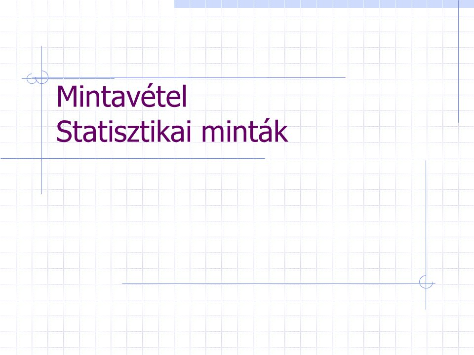 Statisztikai megfigyelések Elvárás: Gyorsaság Pontosság Megbízhatóság Lehetőségek Teljes körű megfigyelések Részleges megfigyelések  Reprezentatív megfigyelések ->Mintavétel