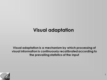 1 Visual adaptation Visual adaptation is a mechanism by which processing of visual information is continuously recalibrated according to the prevailing.