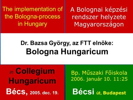 The implementation of the Bologna-process in Hungary Dr. Bazsa György, az FTT elnöke: Bologna Hungaricum in Collegium Hungaricum Bécs, 2005. dec. 19. A.