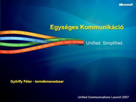 Unified. Simplified. Unified Communications Launch 2007.