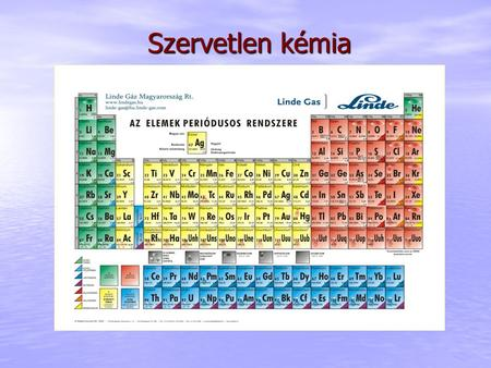 Szervetlen kémia. Szervetlen kémia Nevezéktan IUPAC (International Union of Pure and Applied Chemistry = Tiszta és Alkalmazott Kémia Nemzetközi Uniója)
