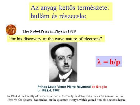 for his discovery of the wave nature of electrons The Nobel Prize in Physics 1929 Prince Louis-Victor Pierre Raymond de Broglie b. 1892,d. 1987 In 1924.