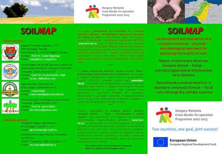 "SOIL MAP The project ""Development and evaluation of a complex chemical – physical – microbiological approach for assessing the quality of soils"" is implemented."