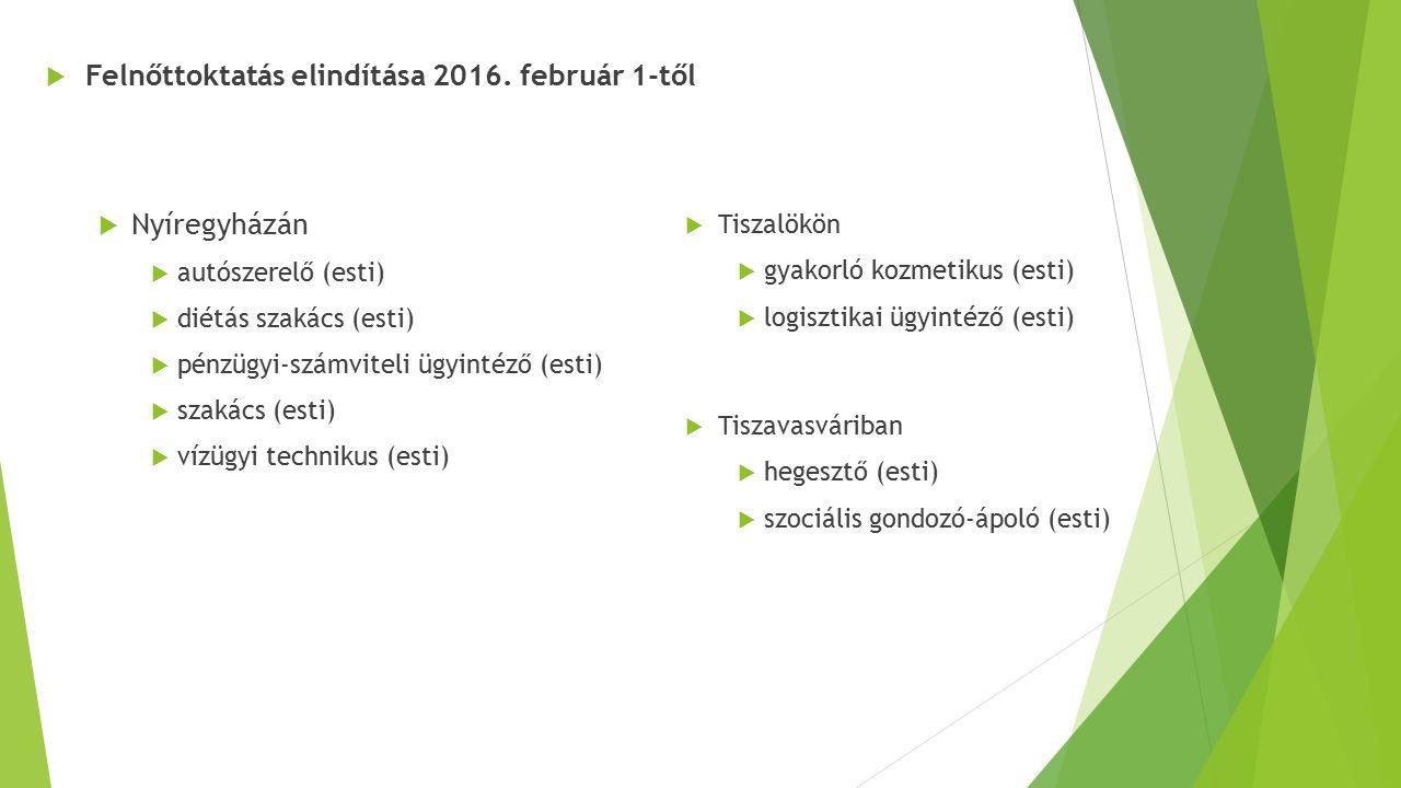 Felnőttoktatás elindítása 2016. február 1-től