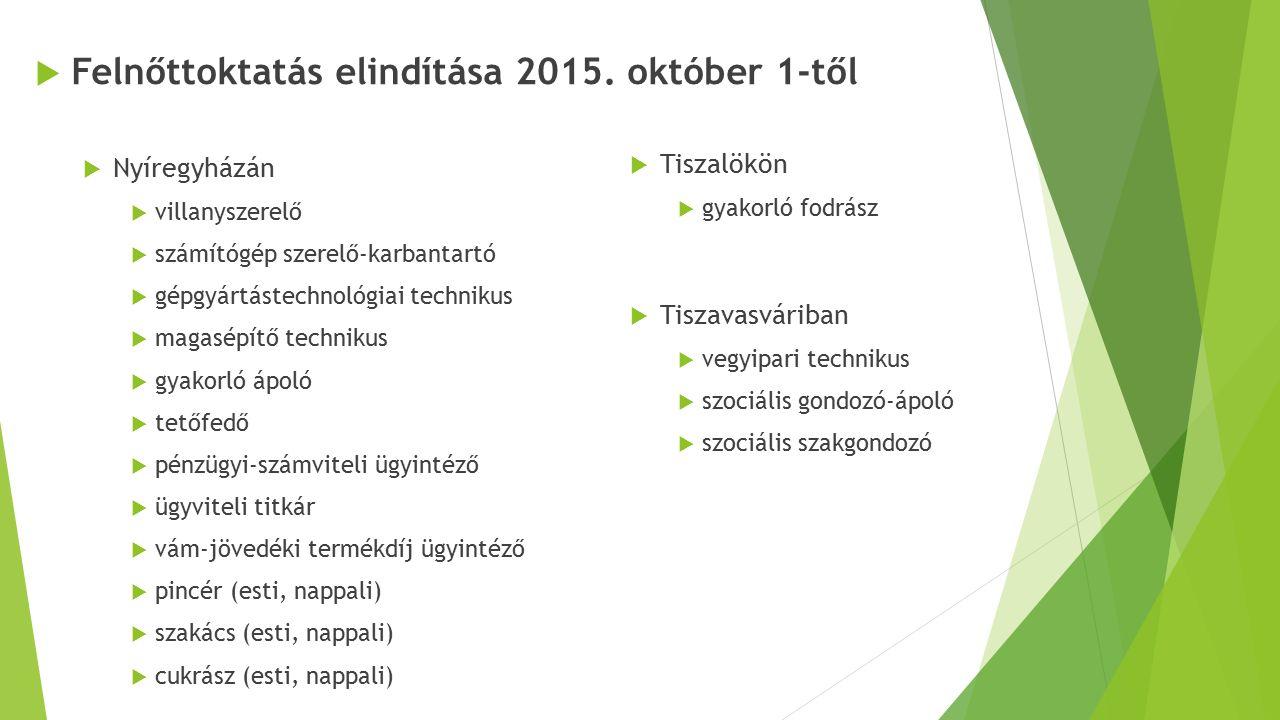 Felnőttoktatás elindítása 2015. október 1-től