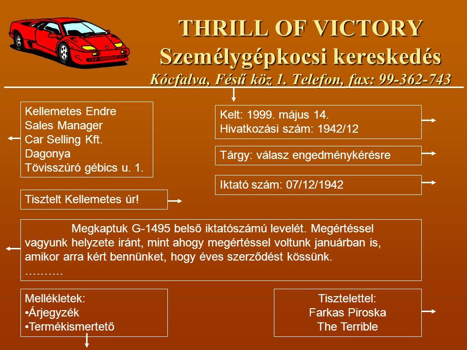 THRILL OF VICTORY Személygépkocsi kereskedés Kócfalva, Fésű köz 1