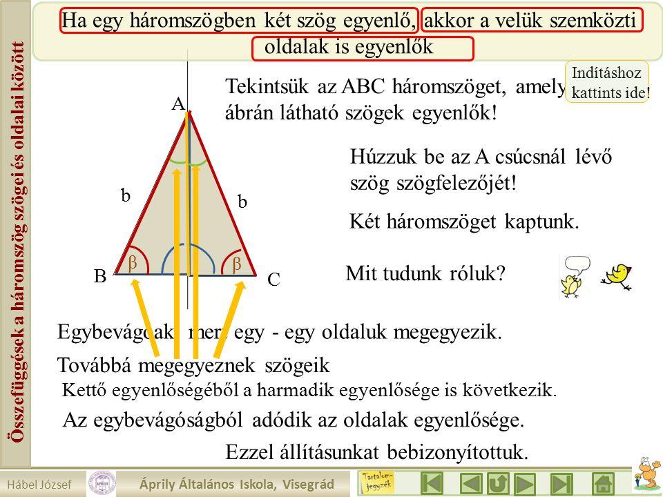 Összefüggések a háromszög szögei és oldalai között