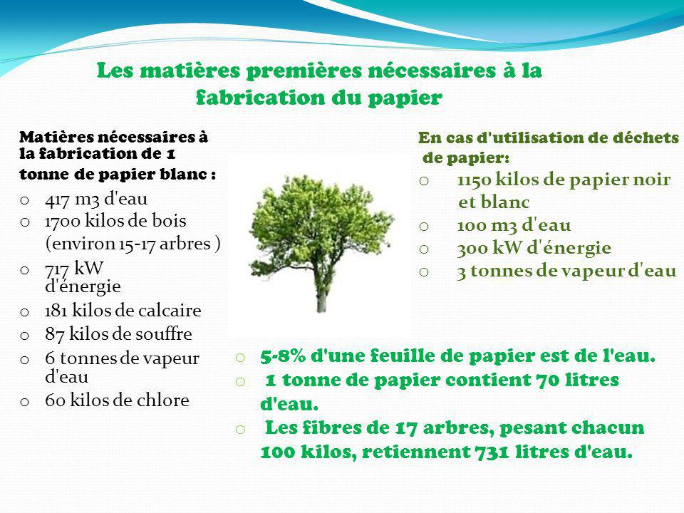 Les matières premières nécessaires à la fabrication du papier