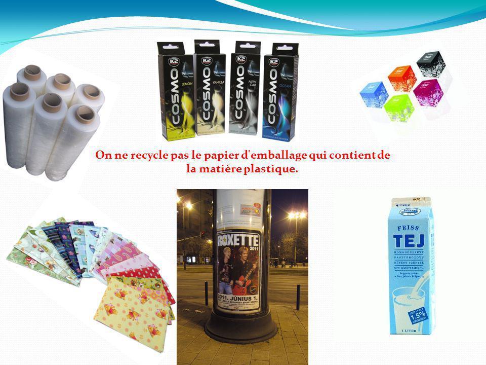 On ne recycle pas le papier d emballage qui contient de la matière plastique.