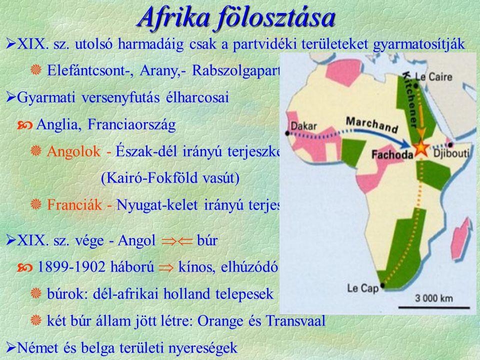 Afrika fölosztása XIX. sz. utolsó harmadáig csak a partvidéki területeket gyarmatosítják.  Elefántcsont-, Arany,- Rabszolgapart.