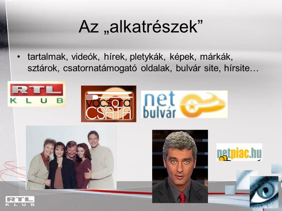 """Az """"alkatrészek tartalmak, videók, hírek, pletykák, képek, márkák, sztárok, csatornatámogató oldalak, bulvár site, hírsite…"""