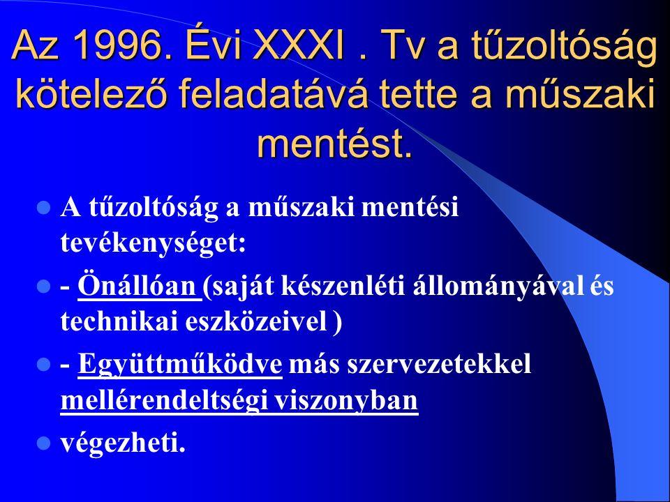 Az 1996. Évi XXXI . Tv a tűzoltóság kötelező feladatává tette a műszaki mentést.
