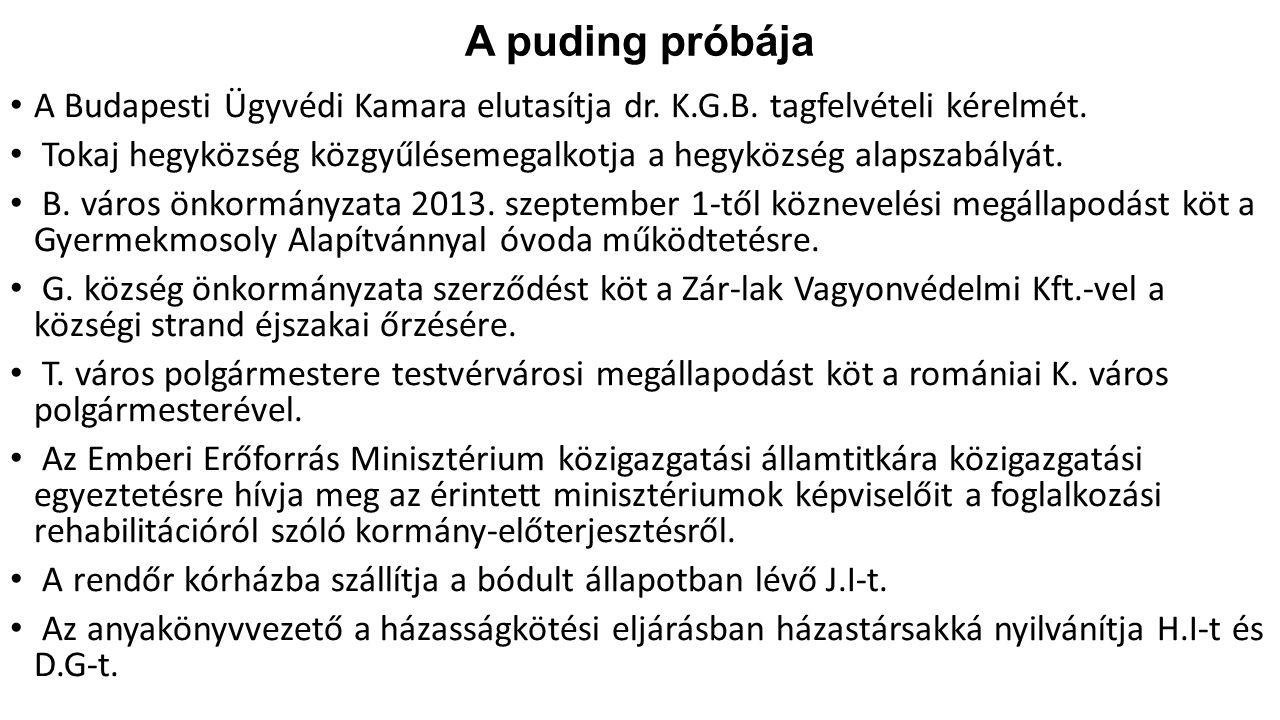 A puding próbája A Budapesti Ügyvédi Kamara elutasítja dr. K.G.B. tagfelvételi kérelmét.
