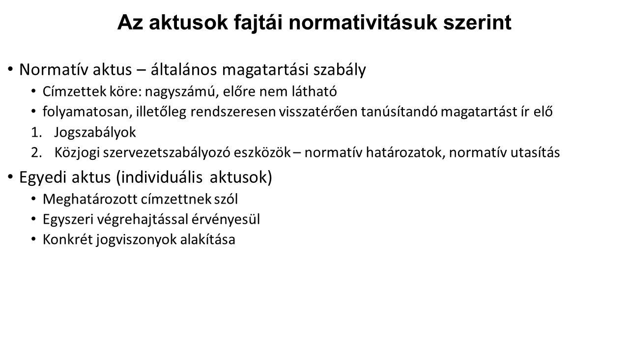 Az aktusok fajtái normativitásuk szerint
