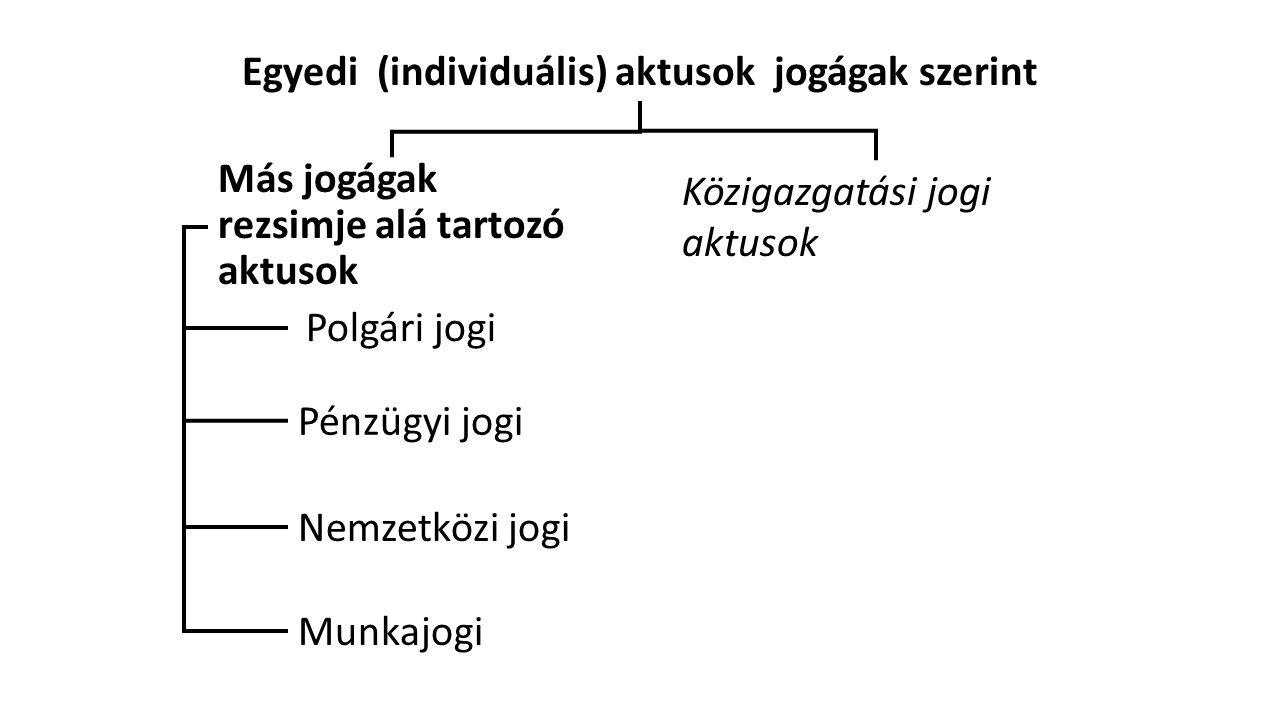 Egyedi (individuális) aktusok jogágak szerint