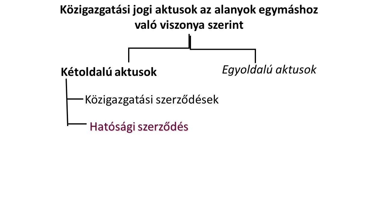 Közigazgatási jogi aktusok az alanyok egymáshoz való viszonya szerint