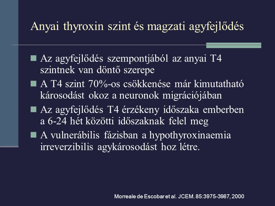Anyai thyroxin szint és magzati agyfejlődés