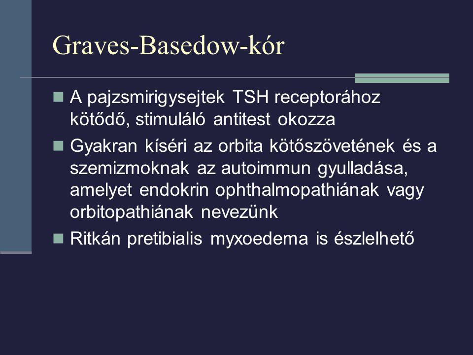 Graves-Basedow-kór A pajzsmirigysejtek TSH receptorához kötődő, stimuláló antitest okozza.