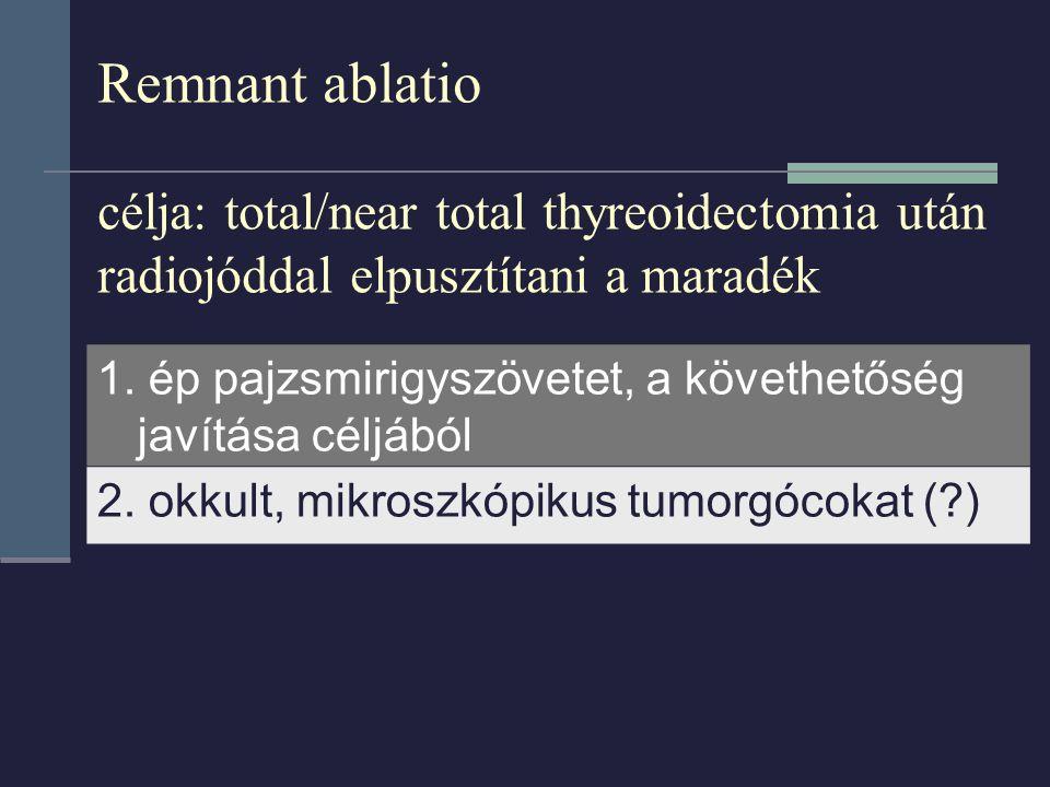Remnant ablatio célja: total/near total thyreoidectomia után radiojóddal elpusztítani a maradék