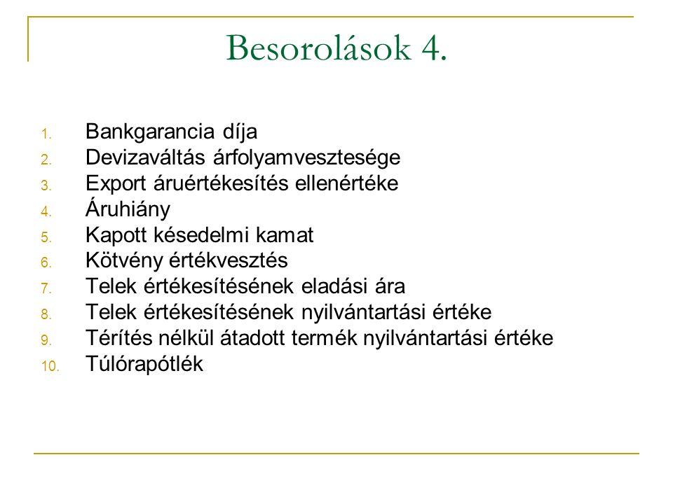 Besorolások 4. Bankgarancia díja Devizaváltás árfolyamvesztesége
