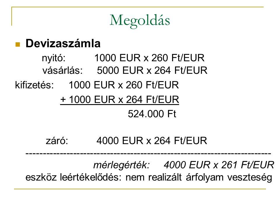 Megoldás Devizaszámla nyitó: 1000 EUR x 260 Ft/EUR vásárlás: 5000 EUR x 264 Ft/EUR.