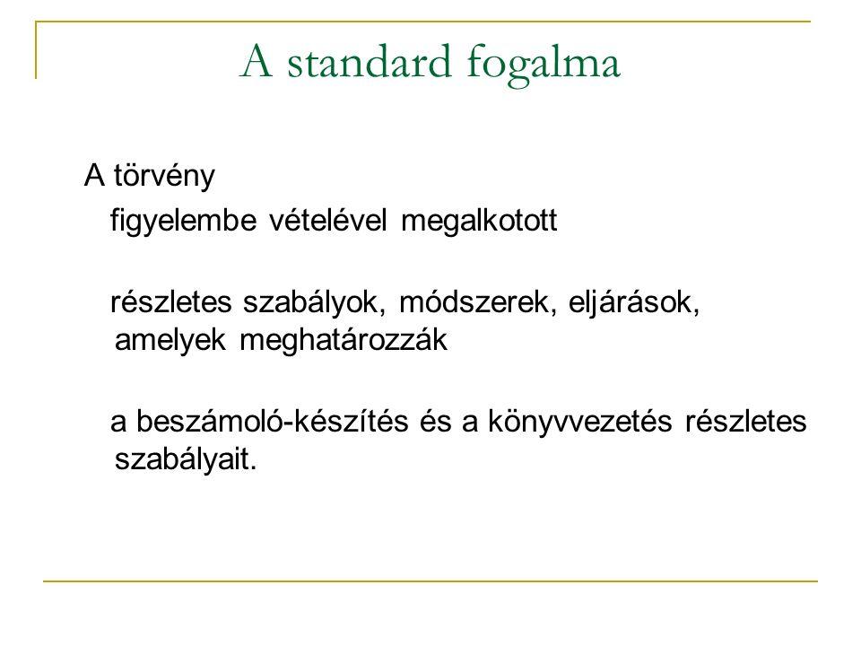 A standard fogalma A törvény figyelembe vételével megalkotott