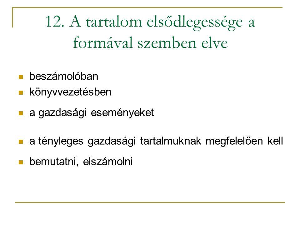 12. A tartalom elsődlegessége a formával szemben elve