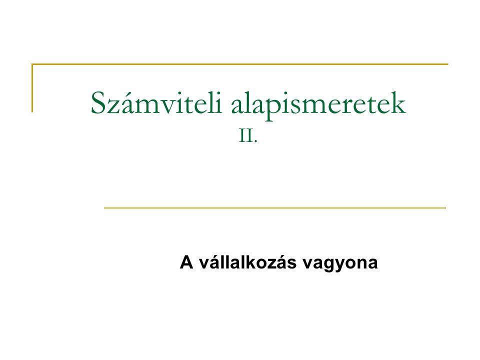 Számviteli alapismeretek II.