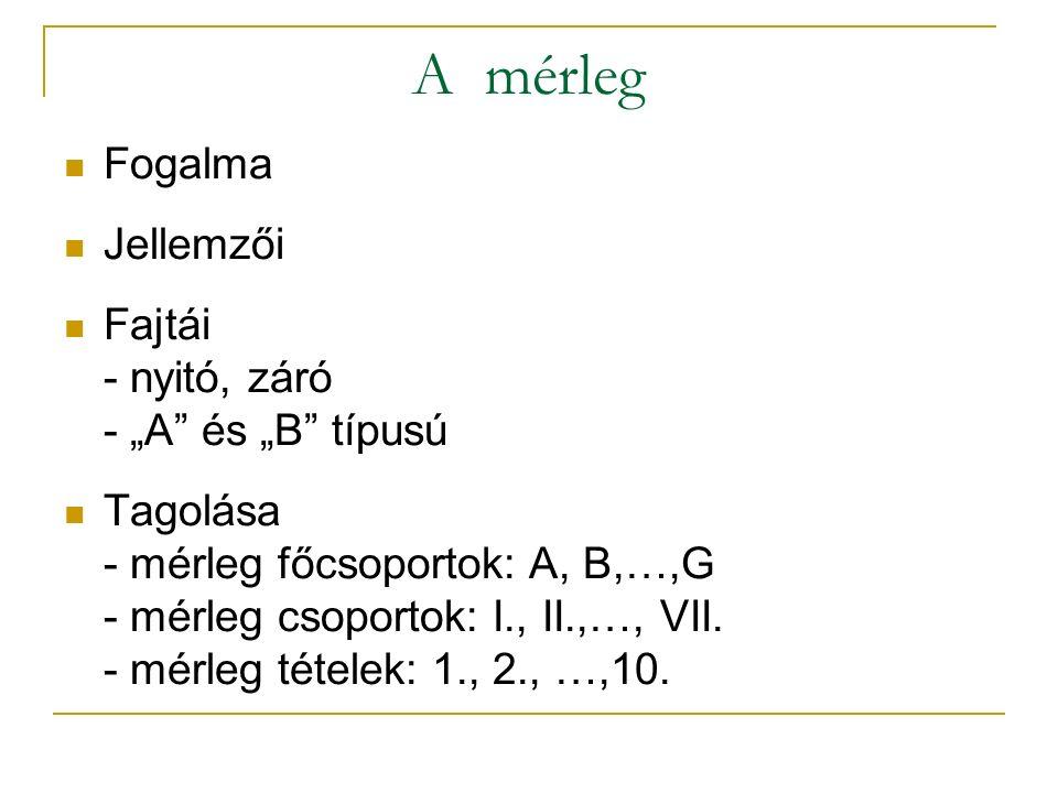"""A mérleg Fogalma Jellemzői Fajtái - nyitó, záró - """"A és """"B típusú"""