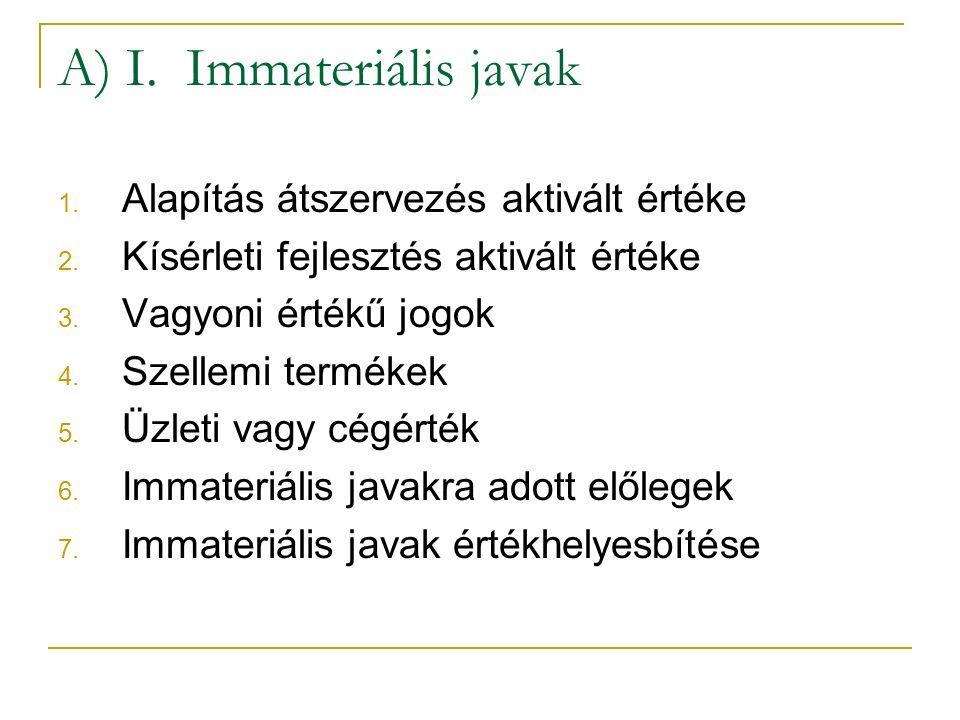 A) I. Immateriális javak