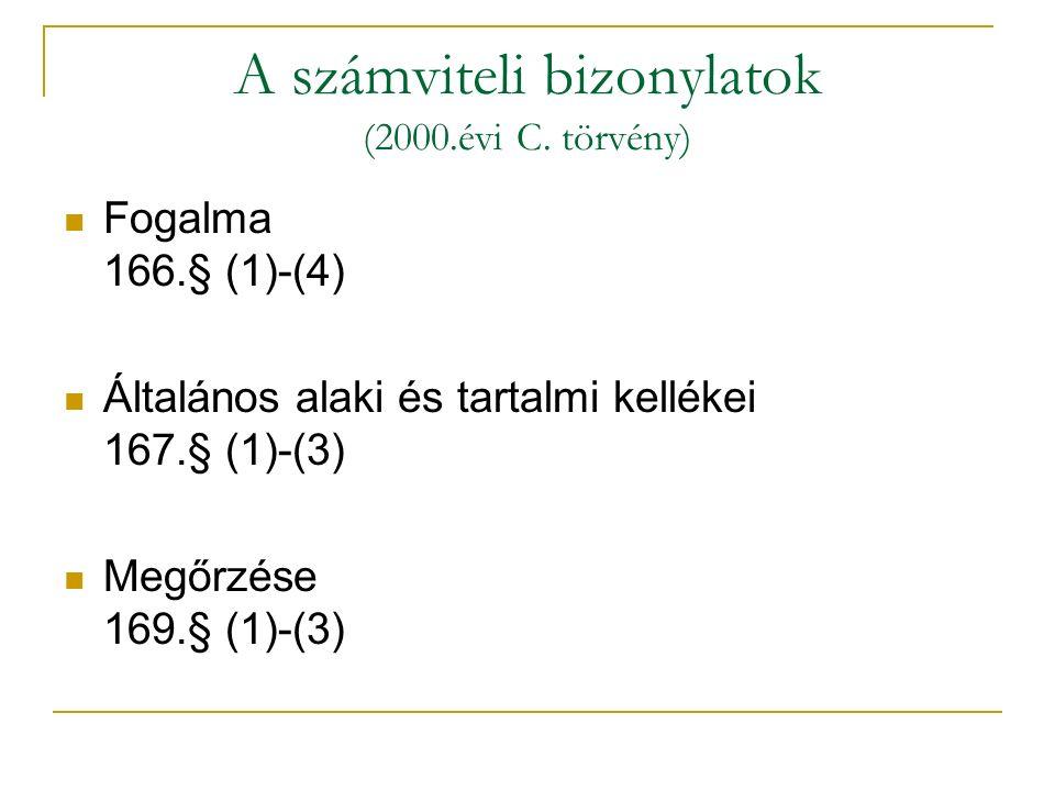 A számviteli bizonylatok (2000.évi C. törvény)