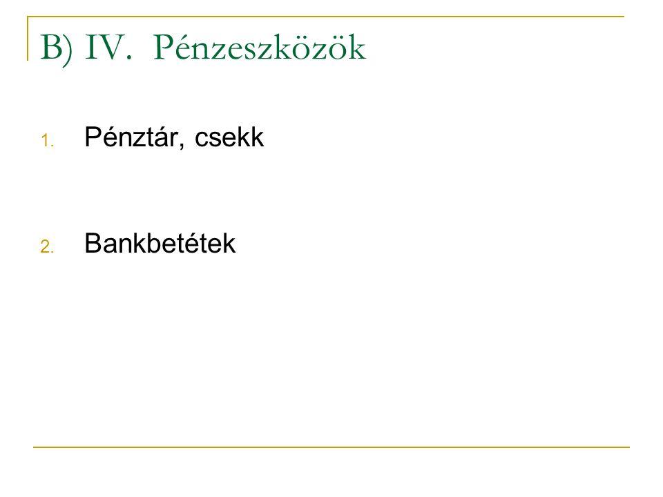 B) IV. Pénzeszközök Pénztár, csekk Bankbetétek