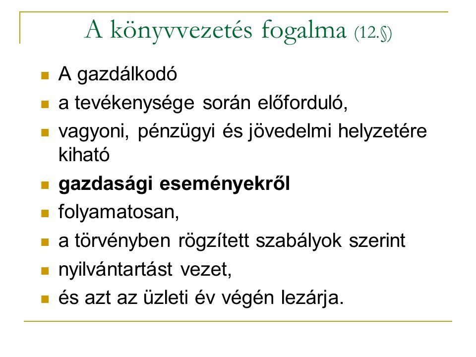 A könyvvezetés fogalma (12.§)