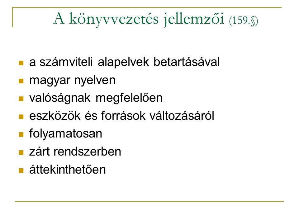 A könyvvezetés jellemzői (159.§)