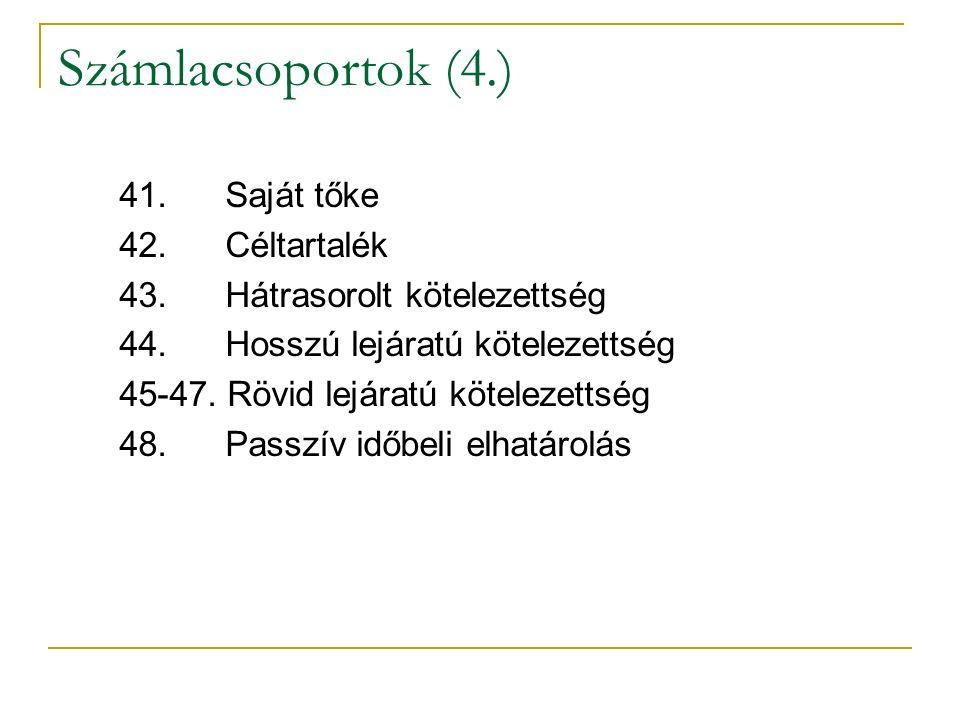 Számlacsoportok (4.) 41. Saját tőke 42. Céltartalék